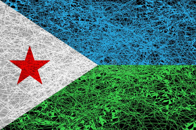Flag of Djibouti. Illustration in grunge style stock illustration