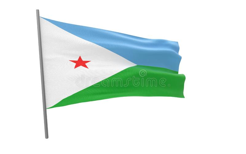 Flag of Djibouti. Illustration of a waving flag of Djibouti. 3d rendering vector illustration