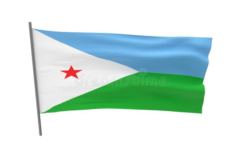 Flag of Djibouti. Illustration of a waving flag of Djibouti. 3d rendering royalty free illustration