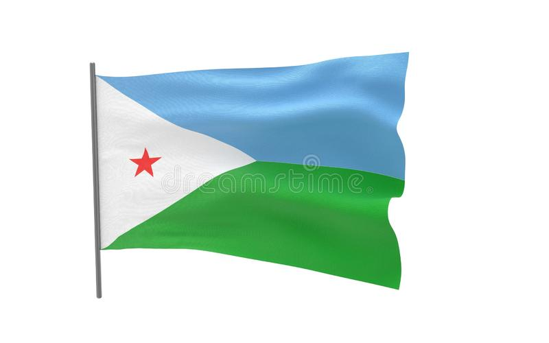 Flag of Djibouti. Illustration of a waving flag of Djibouti. 3d rendering stock illustration