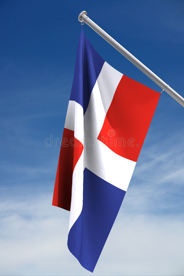 Flag of the Dominican Republic. A view of the red, white and blue flag of the country of the Dominican Republic, hanging from a short white flagpole against a stock image