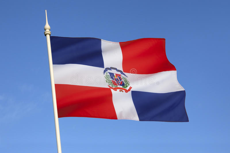 Flag of Dominican Republic - The Caribbean. The national and state flag of the Caribbean island of the Dominican Republic stock photo