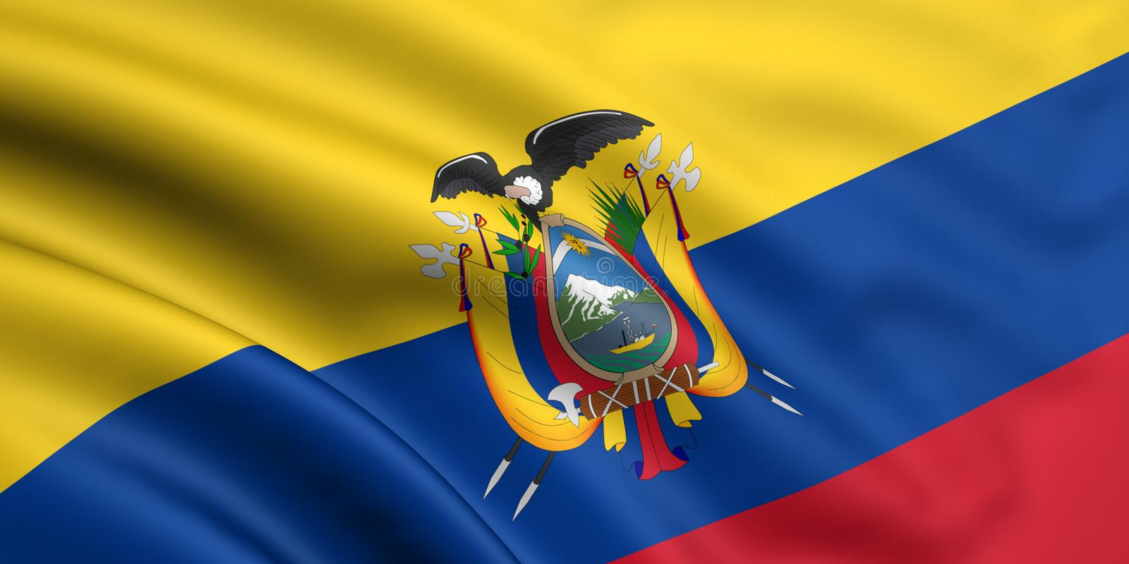 Flag Of Ecuador. 3d rendered and waving flag of ecuador