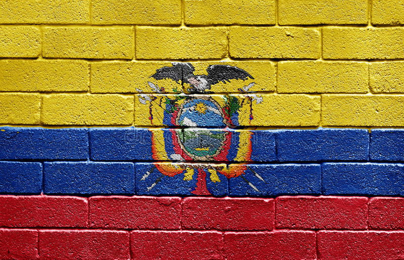 Flag of Ecuador on brick wall stock images
