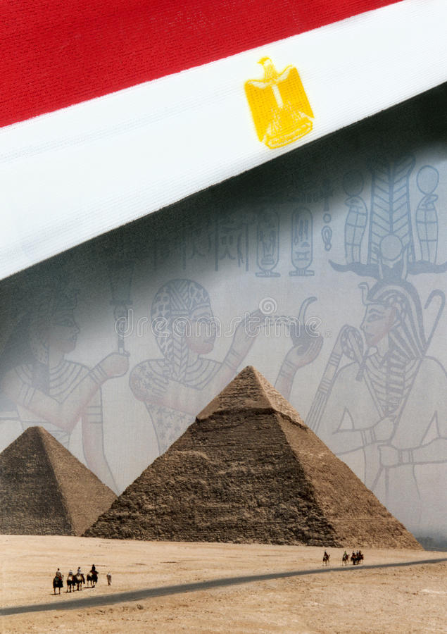 Flag of Egypt and the Pyramids. The flag of Egypt and the pyramids at Giza near Cairo royalty free stock photography