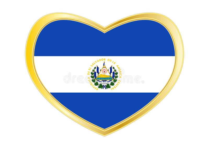 Flag Of El Salvador In Heart Shape Golden Frame Stock Vector
