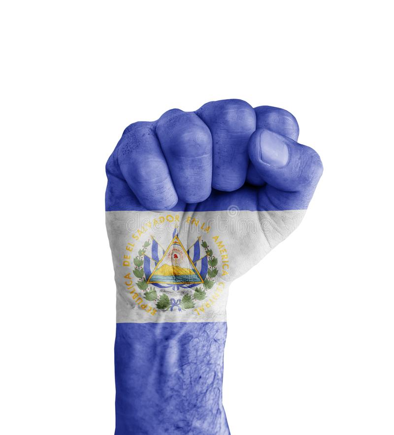 Flag Of El Salvador Painted On Human Fist Like Victory Symbol Stock