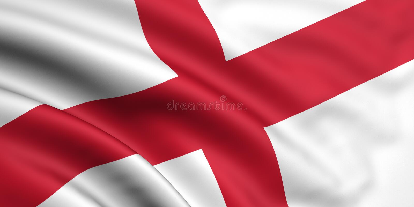 Flag Of England. 3d rendered and waving flag of england