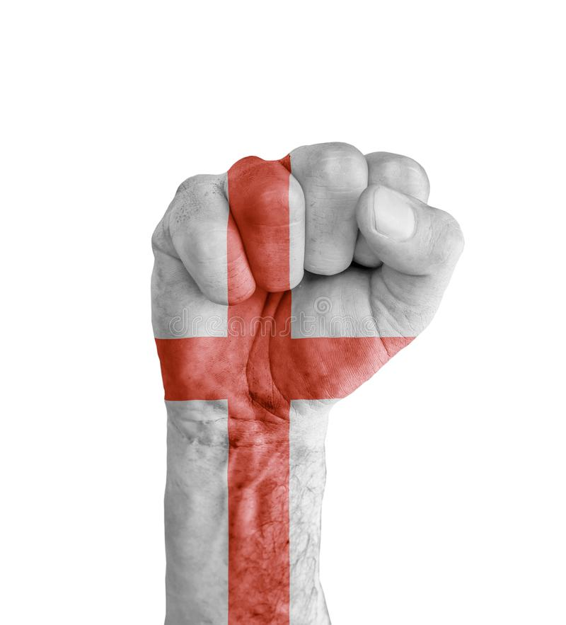 Flag of England painted on human fist like victory symbol royalty free stock images