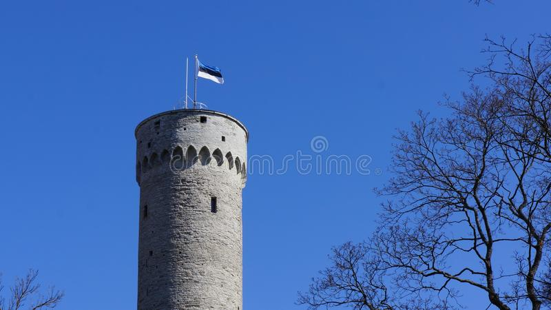 Flag of Estonia on Massive old historic tower in Tallinn. Massive old historic tower in Tallinn (Estonia) with a flagpole and the waving flag of Estonia on it stock photo
