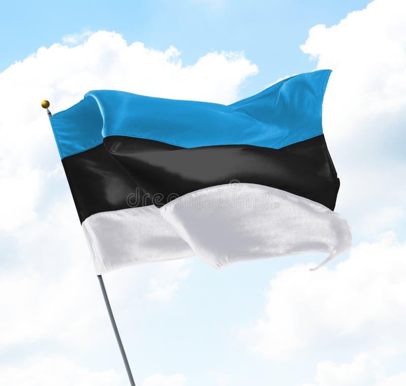 Flag of Estonia. Raised Up in The Sky stock photo