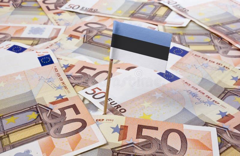 Flag of Estonia sticking in 50 Euro banknotes.(series). Flag of Estonia sticking in european banknotes.(series stock images