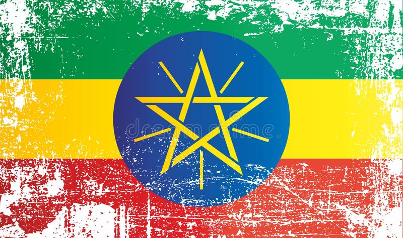 Flag of Ethiopia, Federal Democratic Republic of Ethiopia. Wrinkled dirty spots. Can be used for design, stickers, souvenirs stock illustration