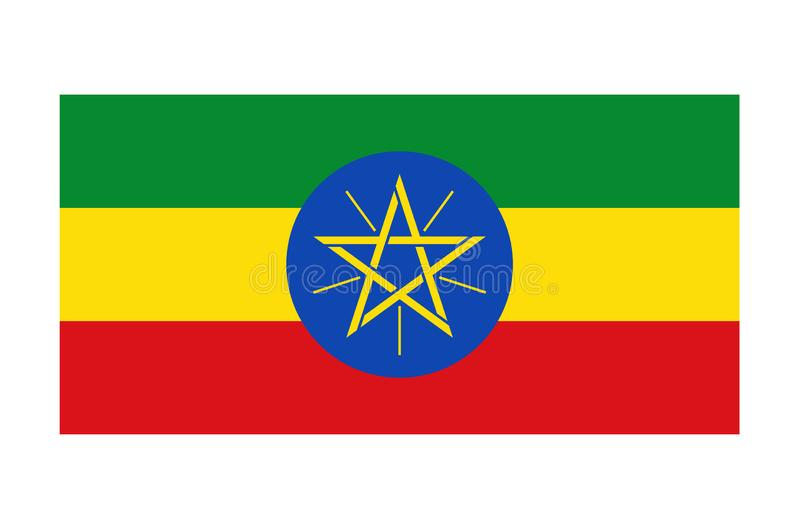 Flag of Ethiopia. Vector format ai aviable africa green yellow red star blue vector illustration