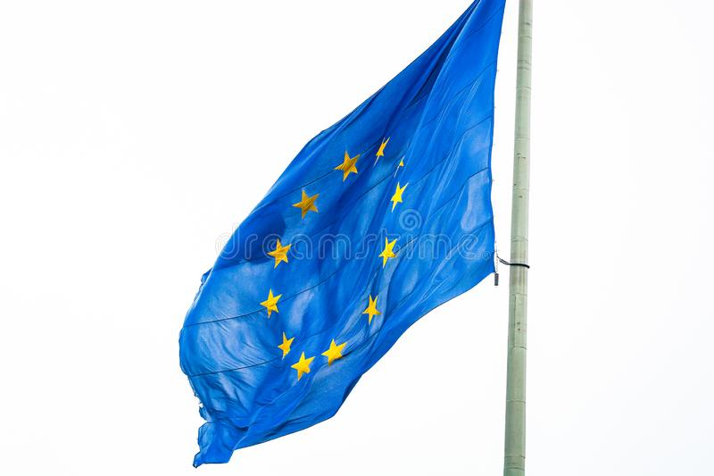 Flag of EU flying in the wind.  royalty free stock image