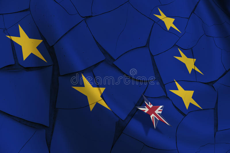 Flag of EU and 12 gold (yellow) stars with a small UK star flag. Brexit : Flag of EU and 12 gold (yellow) stars with a small star flag of UK rise above the blue vector illustration