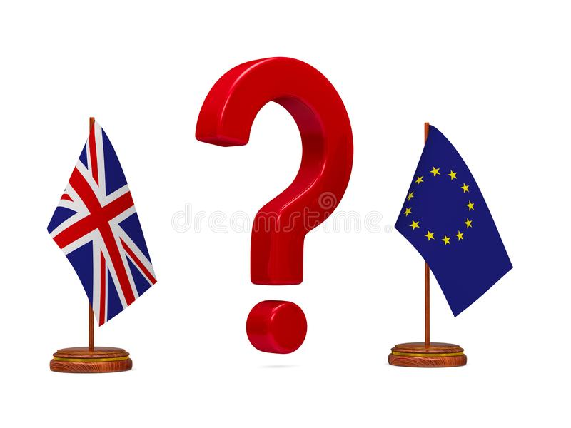 Flag EU and Great Britain and red question on white background. Isolated 3D image.  royalty free illustration