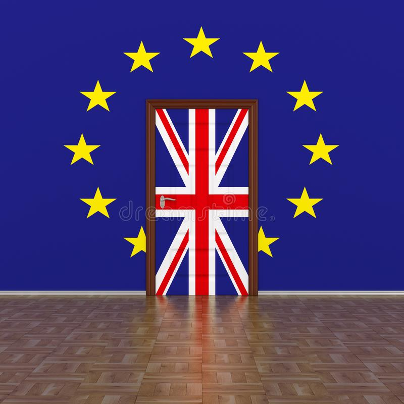 Flag EU and Great Britain on wall and door. 3D image.  stock illustration