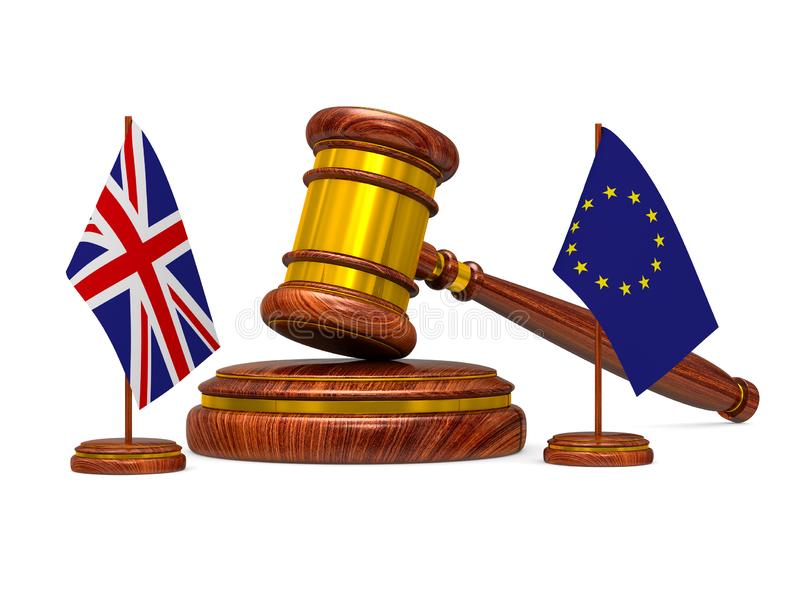 Flag EU and Great Britain and wooden gavel on white background. Isolated 3D image.  royalty free illustration