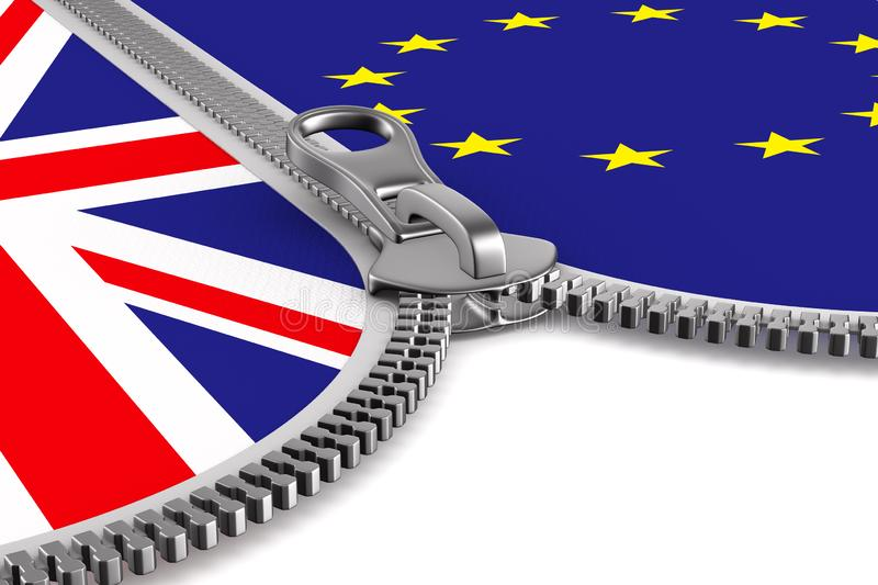 Flag EU and Great Britain and zipper. 3D image.  royalty free illustration