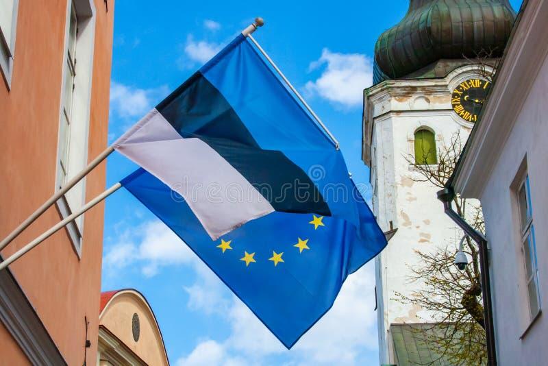Flag of Europe and Estonia. European Parliament Election, 2019, flag of Europe and Estonia waving together royalty free stock photos