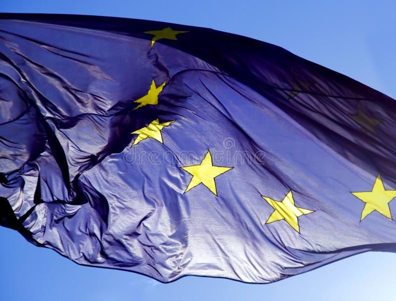 Flag of European union. On sky background stock image