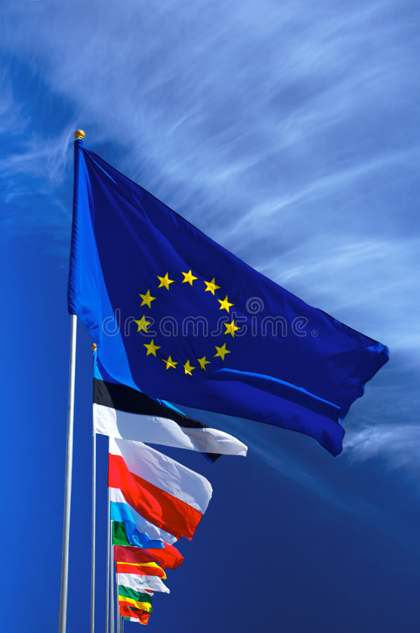 Download Flag of European Union stock image. Image of blue, wind - 2537407
