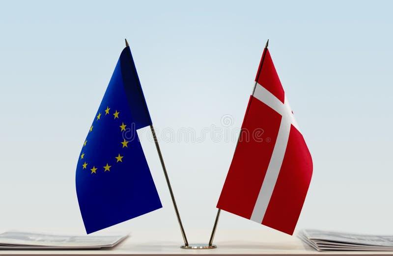 Flag of European Union and Denmark royalty free stock photos