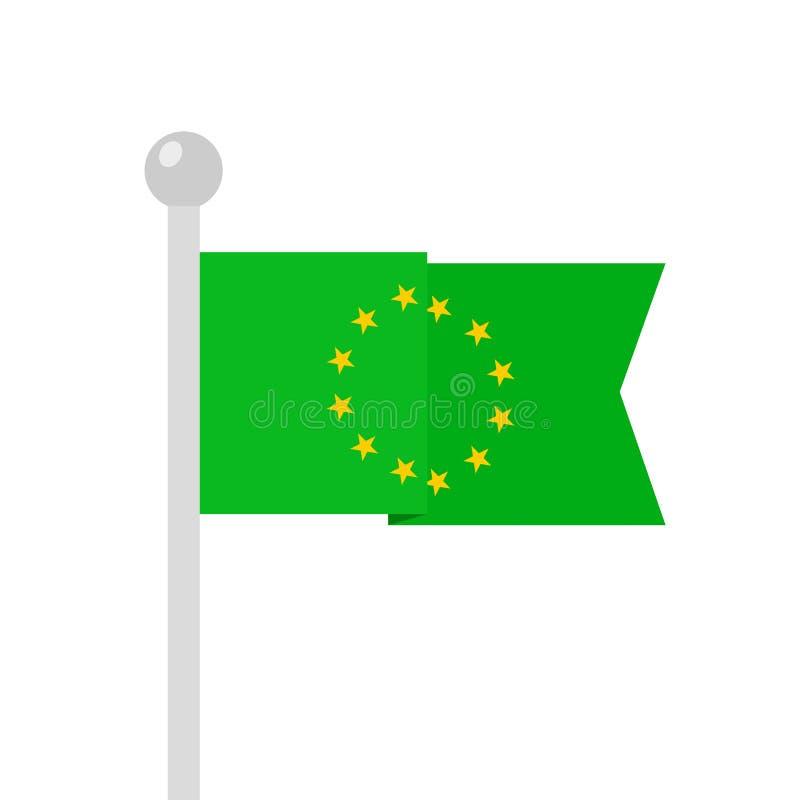 Flag of European union on green field as metaphor of European Green deal royalty free stock photos