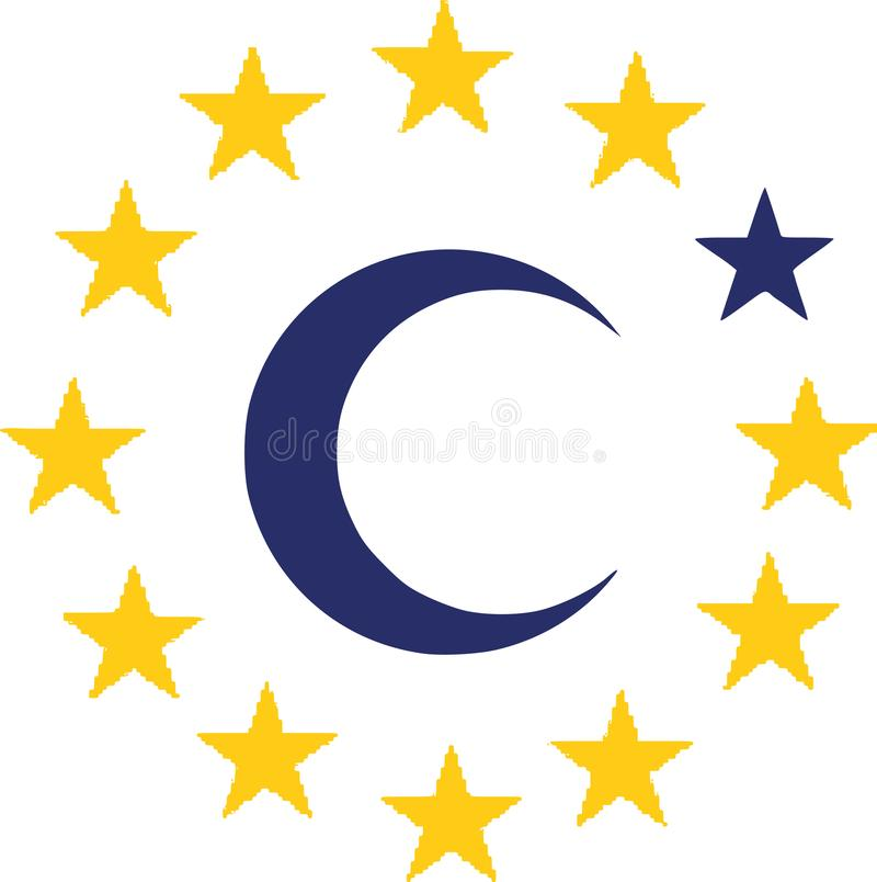 Flag of European Union with islam symbol. Vector vector illustration
