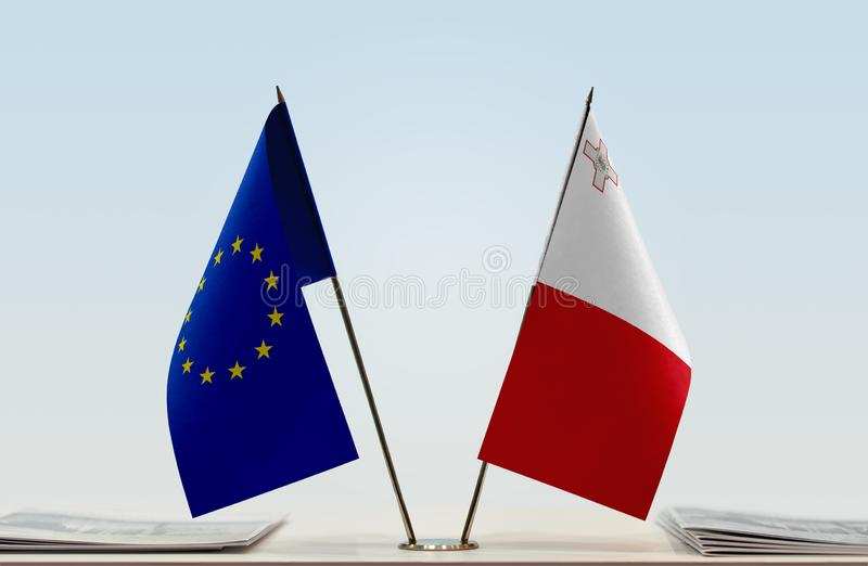 Flag of European Union and Malta stock images