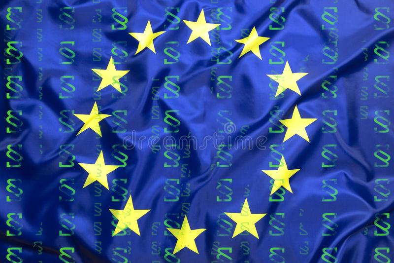 Flag of European Union with paragraph symbols stock photo