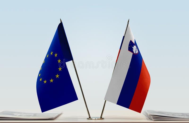 Flag of European Union and Slovenia stock photography