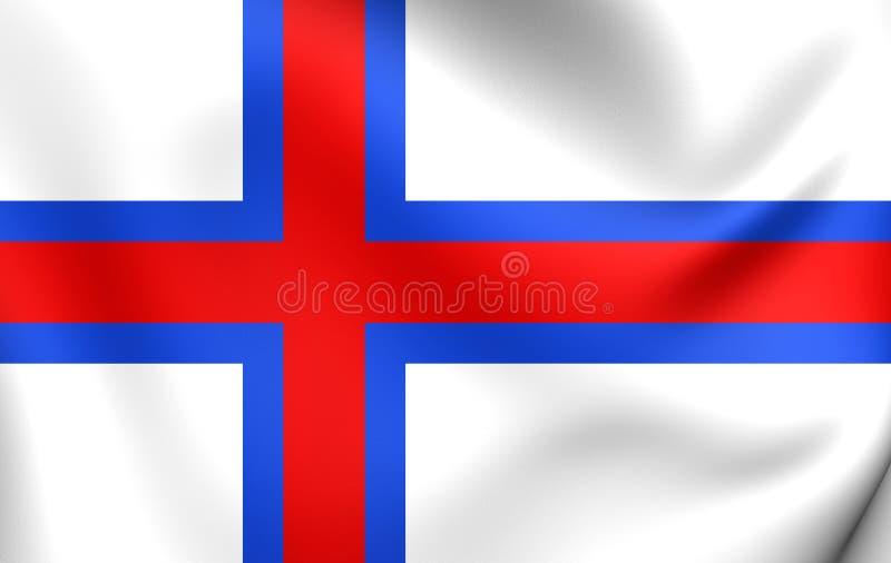 Flag of the Faroe Islands. 3D Flag of the Faroe Islands. Close Up stock illustration