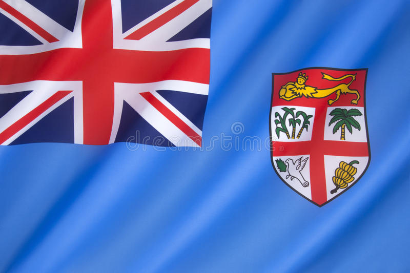 Flag of Fiji. Adopted on 10th October 1970. The state arms have been slightly modified, but the flag has remained the same as during the colonial period with royalty free stock photo