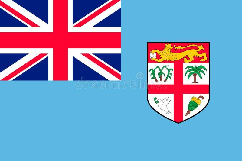 Flag Fiji Islands flat style royalty free illustration