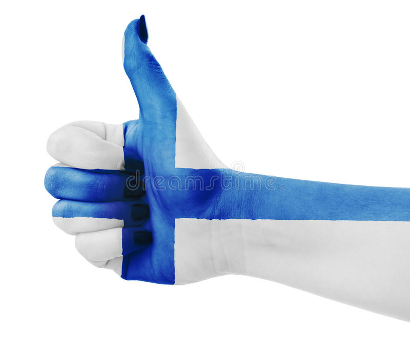 Flag of Finland. Over female's hand stock images