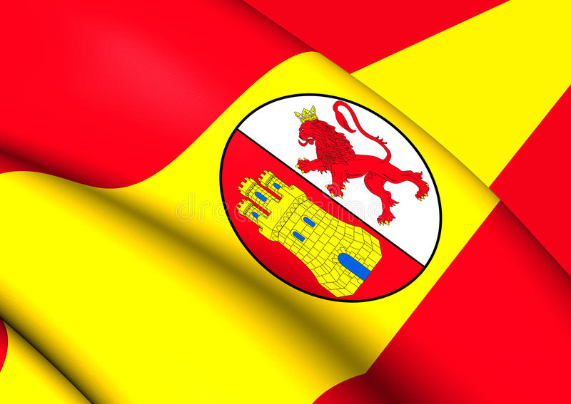 Flag of First Spanish Republic. 3D Flag of the First Spanish Republic. Close Up stock illustration