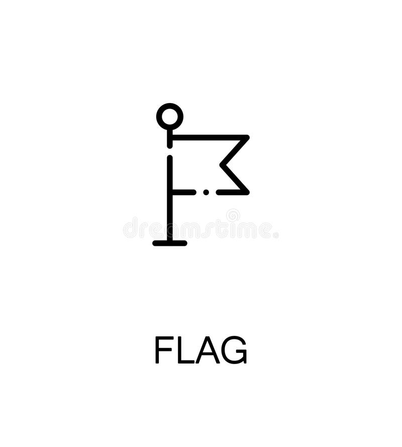 Flag flat icon. Flag cloud icon. Single high quality outline symbol for web design or mobile app. Thin line sign for design logo. Black outline pictogram on stock illustration