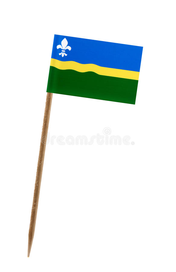 Flag of Flevoland. Tooth pick wit a small paper flag of Flevoland stock photography