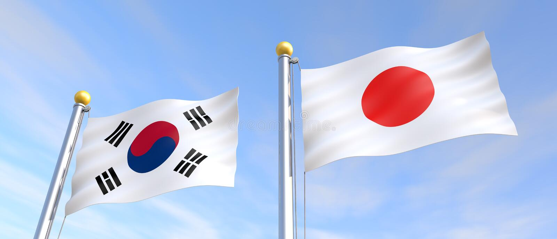 Flag flying in the wind Japanese flag Korean flag 3D illustration royalty free illustration