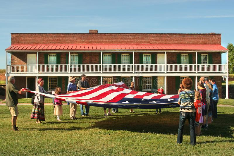 Flag folding at Fort McHenry National Monument in Baltimore, Maryland stock photo