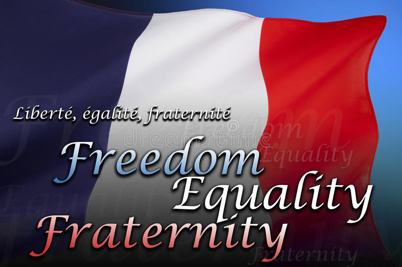 Flag of France - Freedom, Equality and Fraternity. The national flag of France is a tricolour featuring three vertical bands colored royal blue, white, and red stock images