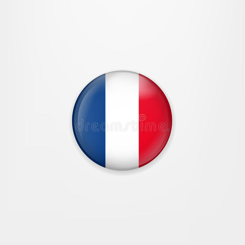 Flag of France round icon, badge or button. French national symbol. Vector illustration. stock illustration