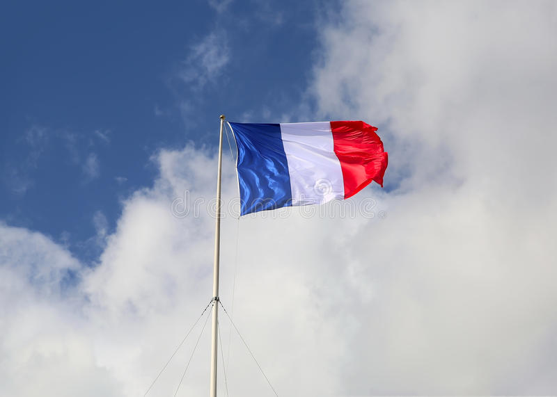 Flag of France, waving in the wind stock images