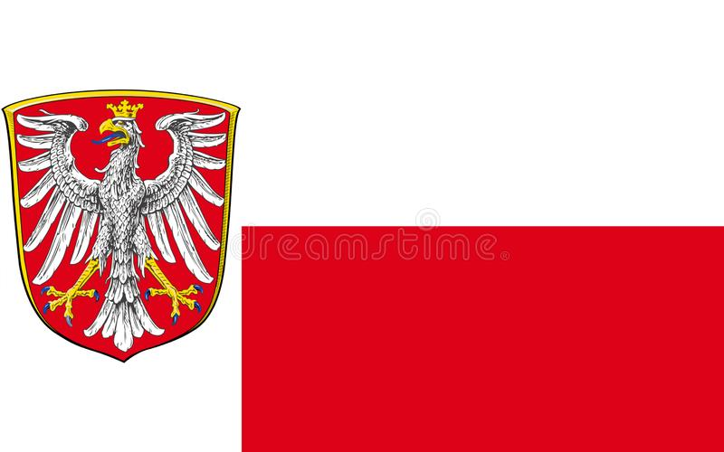 Flag of Frankfurt am Main of Waldeck-Frankenberg in Hesse the la. Flag of Frankfurt am Main is the largest city of Hesse in Germany. 3d illustration stock illustration