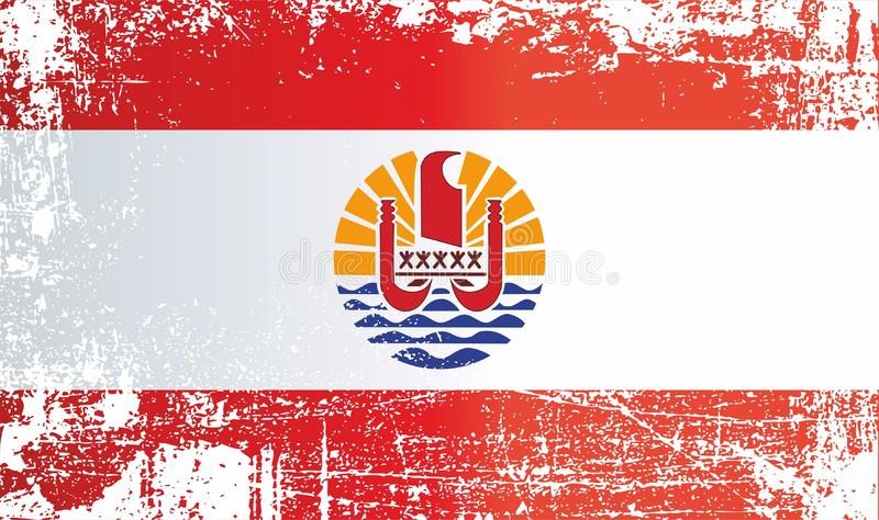 Flag of French Polynesia, Overseas region and department of France. Wrinkled dirty spots. Can be used for design, stickers, souvenirs royalty free illustration