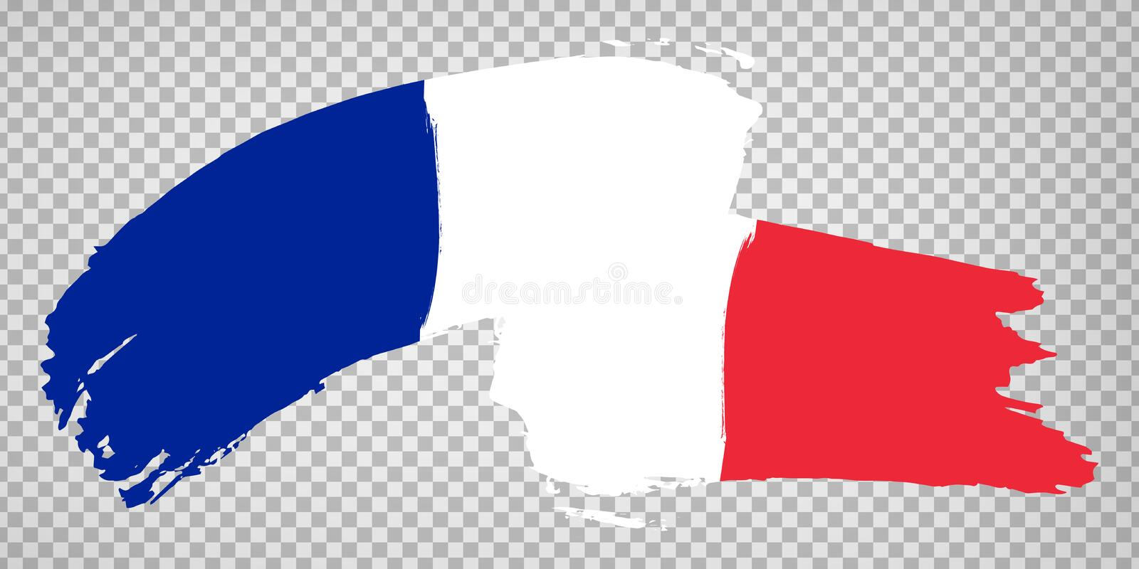 Flag of  French Republic, brush stroke background.  Waving Flag of French Republic on tranparent backrgound for your web site desi stock image