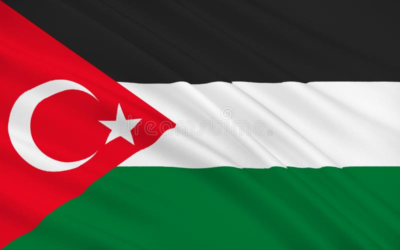 Flag of Gaza, Palestine. Flag of Gaza City is Palestinian city in the Gaza Strip it the largest city in the State of Palestine. 3d illustration royalty free illustration