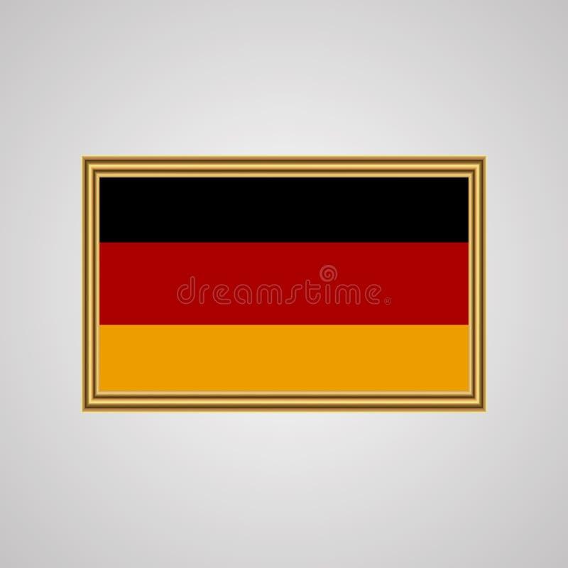 Flag of Germany in a golden frame stock illustration